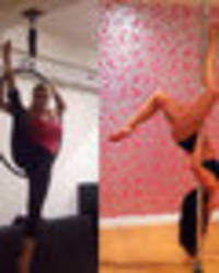 sexercise! nicola mclean and jasmin walia get bendy with the splits